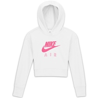 Nike GIRLS AIR CROP FT HOODIE - WHITE/PINK