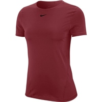 Nike Womens All Over Mesh S/S Top - DARK BEETROOT/BLACK