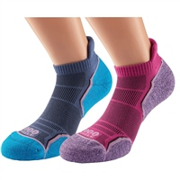 1000 Mile WOMENS RUN SOCKLET (TWIN PACK) - PINK/BLUE