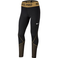 Nike GIRLS PRO WARM TIGHTS - BLACK/GOLD