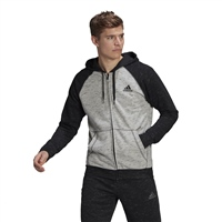 Adidas MENS MELANGE FULL ZIP HOODIE - MELANGE GREY/BLACK