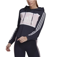 Adidas WOMENS SHORT PULLOVER HOODIE - NAVY/PINK