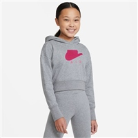 Nike GIRLS AIR FT CROP HOODIE - GREY/PINK