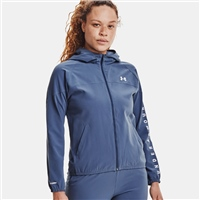 Under Armour WOMENS WOVEN BRANDED FZ HOODIE - BLUE