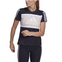 Adidas WOMENS COLOUR BLOCK T-SHIRT - NAVY/PINK/WHITE