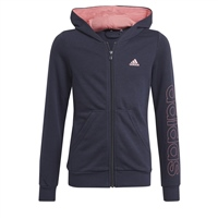 Adidas GIRLS LINEAR FULL ZIP HOODIE - NAVY/PINK