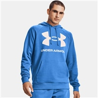 Under Armour MENS RIVAL FLEECE BIG LOGO HOODIE - BLUE/WHITE