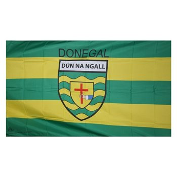 GAA Donegal 5x3 Crested Flag  - Click to view a larger image