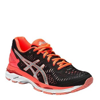 a7f99fee27c2 Asics Womens Gel Kayano 23 Running Shoes - Black Silver Coral - Click to