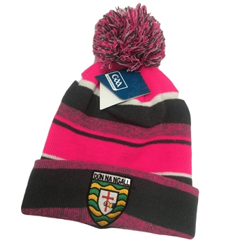 Introsports Donegal GAA Melange Bobble Hat - Pink/Grey/White  - Click to view a larger image