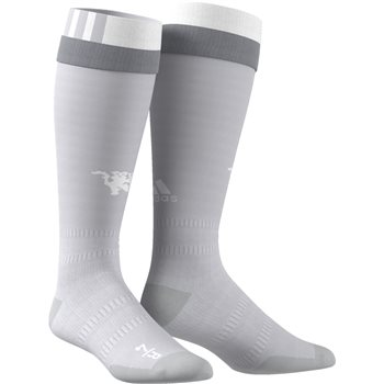 Adidas Manchester Utd 3rd Socks 17/18 - Grey/White  - Click to view a larger image