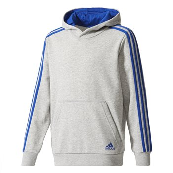 Adidas Boys 3S Pullover Hoodie - Grey/Royal  - Click to view a larger image