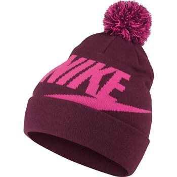 7039a35e Nike Kids Sportswear Pom Beanie - Burgundy/Pink - Click to view a larger  image