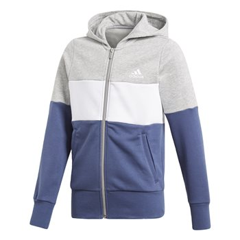 Adidas Girls Sport ID FZ Hoodie - Grey/White/Navy  - Click to view a larger image