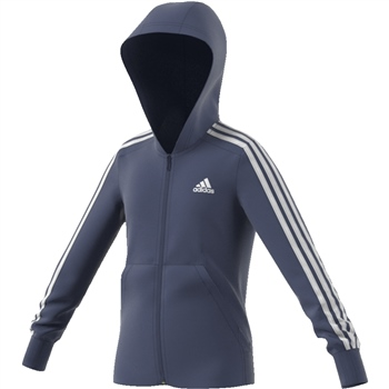 Adidas Girls 3S Full Zip Hoodie - Navy/White