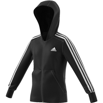 Adidas Girls 3 Stripe FZ Hoodie - Black/White  - Click to view a larger image