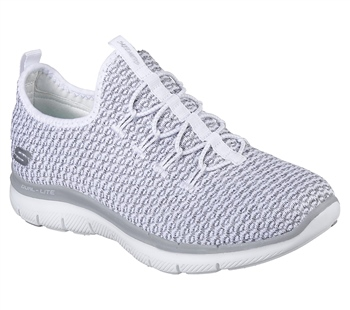 14672e0a7a2bf Skechers Womens Flex Appeal 2.0 Passports - White/Grey - Click to view a  larger