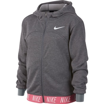 Nike Girls Dry Studio FZ Hoodie - Grey/Pink  - Click to view a larger image