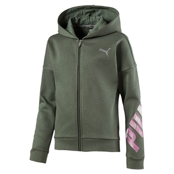 Puma Girls Style Full Zip Hoody - Laurel Wreath Green