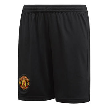 Adidas Manchester Utd Home Shorts 18/19 - Kids - Black  - Click to view a larger image