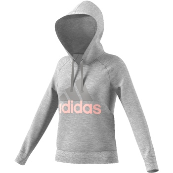 Adidas Womens Essentials Linear OH Hoodie - Grey/Pink  - Click to view a larger image