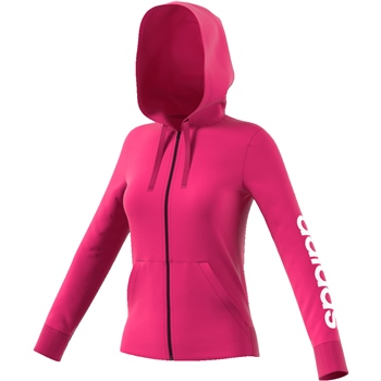 Adidas Womens Linear Full Zip Hoodie - Pink/White  - Click to view a larger image
