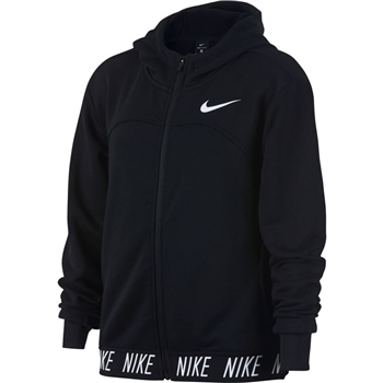 Nike Girls Dry Studio FZ Hoodie - Black/White  - Click to view a larger image