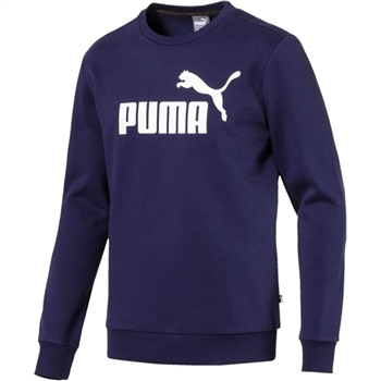 Puma Mens Logo Crew Sweat Top - Navy/White  - Click to view a larger image