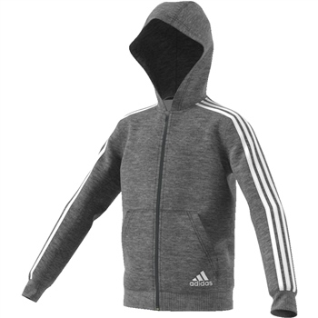 Adidas Boys 3S Full Zip Hoodie - Grey  - Click to view a larger image