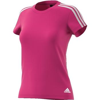 Adidas Womens Essential 3S Slim T-Shirt - Pink/White