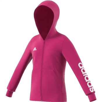 Adidas Girls Linear Full Zip Hoodie - Pink/White  - Click to view a larger image