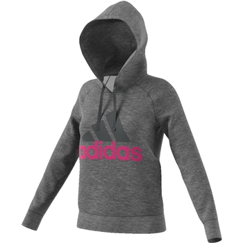 Adidas Womens Ess OH Fleece Hoodie - Grey/Magenta  - Click to view a larger image