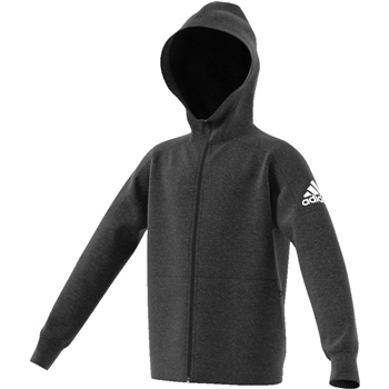 60d187acb407 Adidas Boys Stadium Full Zip Hoodie - Grey Black - Click to view a larger
