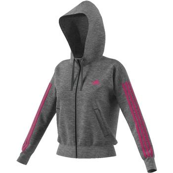 Adidas Womens Ess 3S Full Zip Hoodie - Grey/Magenta