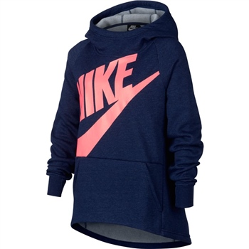 Nike Girls NSW Pullover Hoodie PE - Navy/Pink  - Click to view a larger image