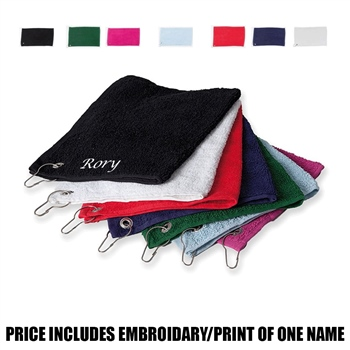 Towel City  Personalised Luxury Range Golf Towel - White  - Click to view a larger image