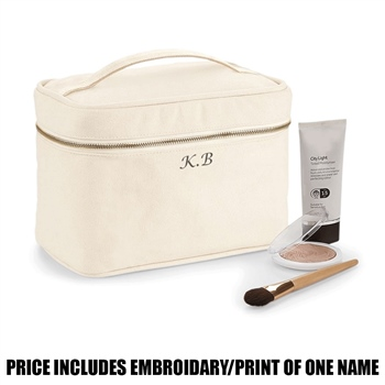 Westford Mill Personalised Canvas Vanity Case - Natural  - Click to view a larger image