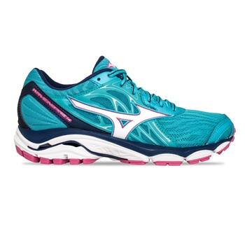Mizuno Womens Wave Inspire 14 - Cyan/White/Pink  - Click to view a larger image