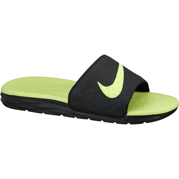 Nike Mens Benassi Solarsoft Slides - Black/Volt