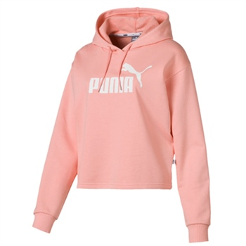 Puma Womens Ess+ Logo Cropped Hoody - Peach  - Click to view a larger image