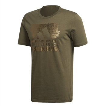 Adidas Mens MH Foil Badge of Sport Tee - Khaki.Green  - Click to view a larger image