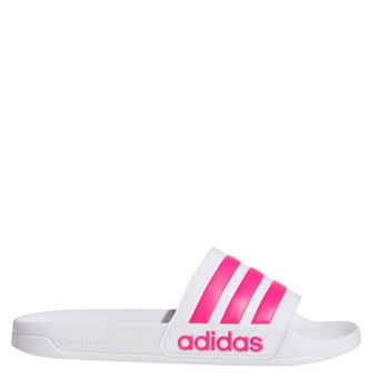 Adidas Adult Adilette Shower Sliders - White/Pink  - Click to view a larger image