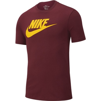 Nike Mens NSW Icon Futura T-Shirt - Maroon/Yellow  - Click to view a larger image