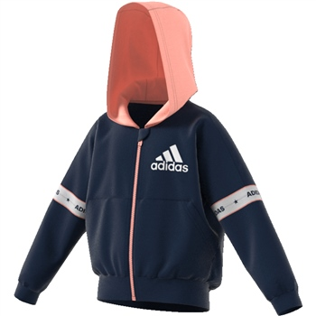 Adidas Girls Full Zip KN Hoodie - Navy/Pink  - Click to view a larger image