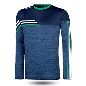 ONeills Nevis Brushed Crew Neck Top  Mel Marine/White/Emerald  - Click to view a larger image
