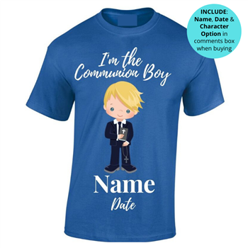 Communion Personalised T-shirt - Blue  - Click to view a larger image