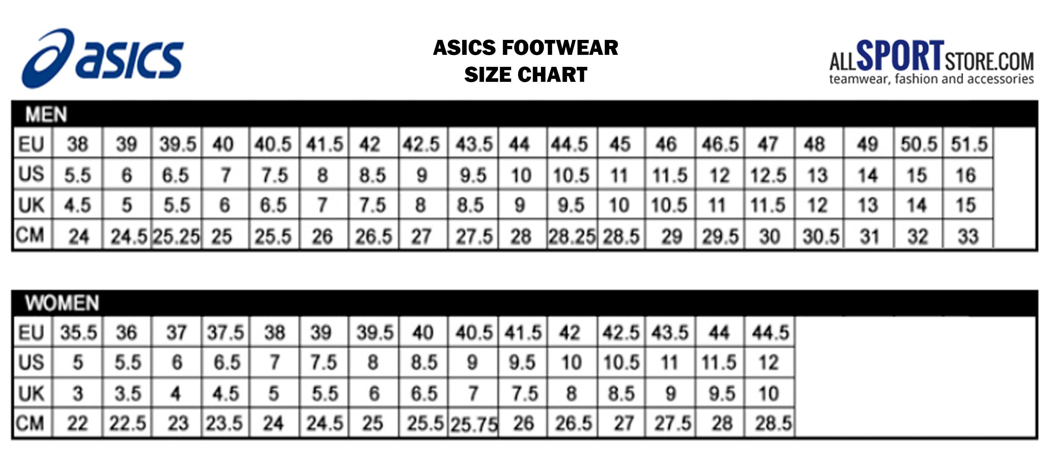 Asics Shoes Size Cm